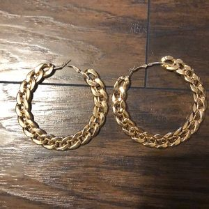 Cuban link hoop earrings